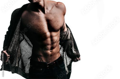Obraz na plátně Muscular man with sexy body