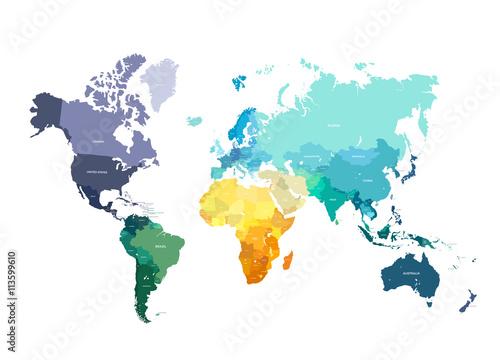 Fotografía  Color World Map Illustration