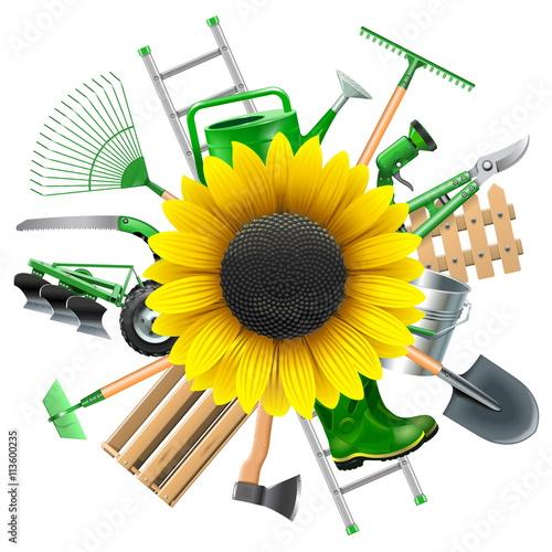 Fototapeta Vector Garden Equipment with Sunflower obraz