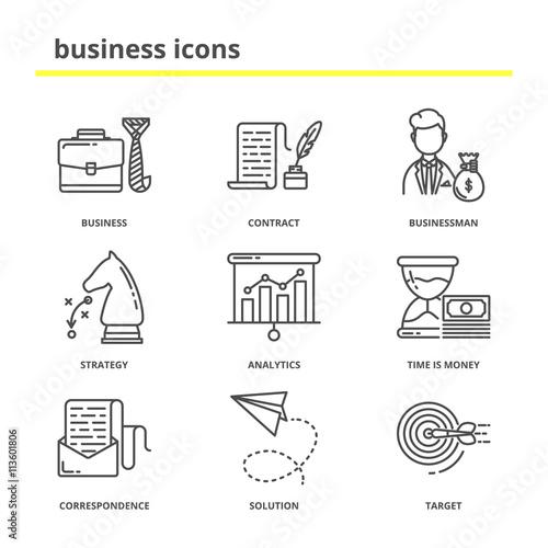 Fototapeta Business and office vector icons set: contract, businessman, str obraz na płótnie