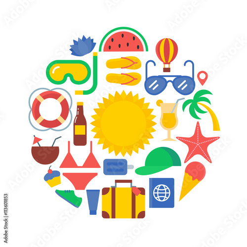 Fotobehang Draw Summer time and vacation concept vector illustration