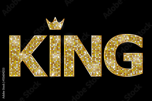 Cuadros en Lienzo Vector illustration of gold king text