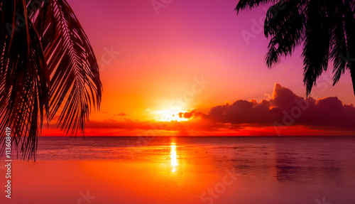 Fotografering  Tahiti Sunset