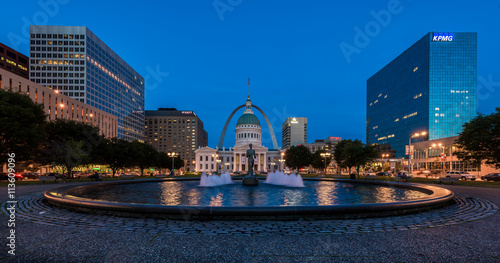 Canvas Prints Historic monument Kiener Plaza with the Running Man statue and the Old Courthouse and the Arch in St. Louis, Missouri