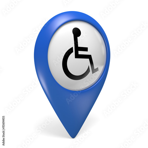 Blue Map Pointer Icon With A Wheelchair Symbol For Handicapped
