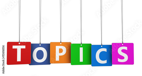 Fototapeta  Topics Sign Colorful Paper Tags