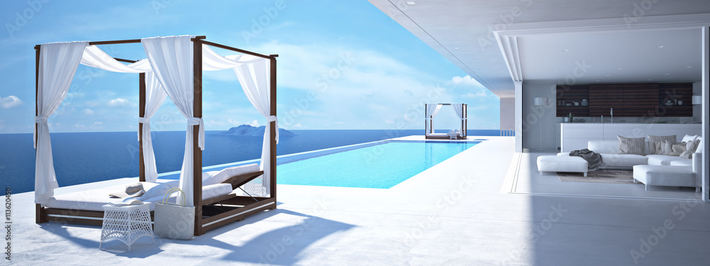Fototapeta luxury swimming pool in santorini. 3d rendering