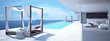 Leinwanddruck Bild - luxury swimming pool in santorini. 3d rendering