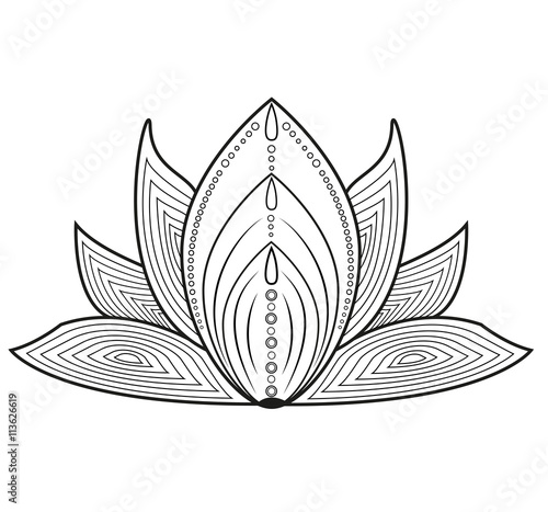 Black And White Vector Decorated Lotus Flower For Coloring Fiore Di