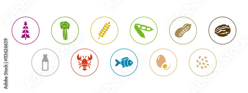 Allergy icon button set Wallpaper Mural