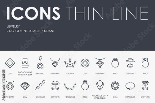 Fotografía  Jewelry Thin Line Icons