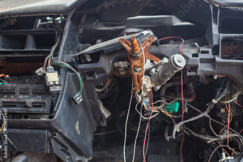 electric wire and key in the Car Wreck - Buy this stock photo and