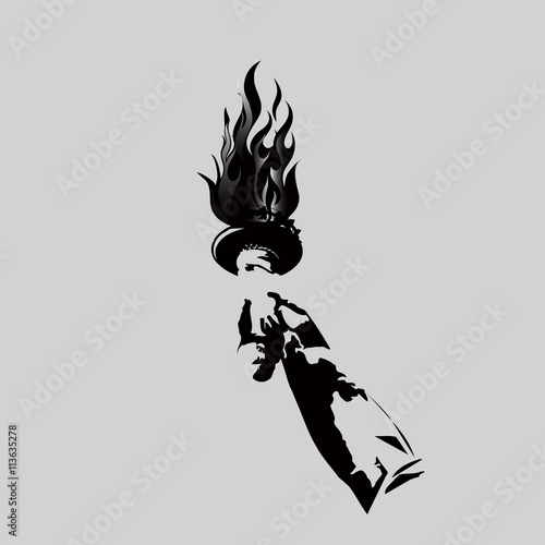 Vector torch in hand with flame. black and white symbol isolated on ...