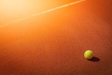 Tennis Ball Next To Line