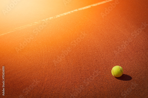 tennis ball next to line