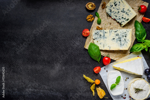 Poster Dairy products Danish Blue Cheese and Camembert on Copy Space