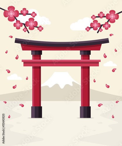 Fotografie, Tablou  Japanese Tori Gate, Sakura Blossom and Mount Fuji at Background