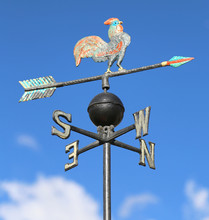 Weathervane With Rooster Above An Arrow And The Four Cardinal P