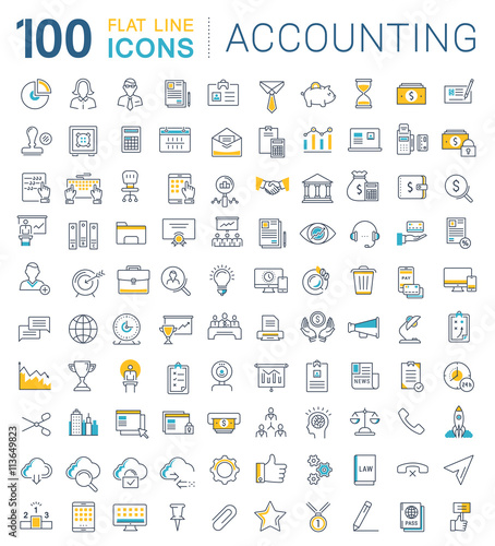 Set Vector Flat Line Icons Accounting and Finance Canvas Print