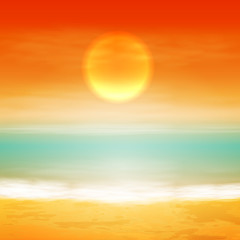 Sea sunset with the sun, light on lens