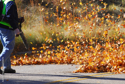 Photo outdoor manual worker clean the fallen leaves on the road by blower in autumn