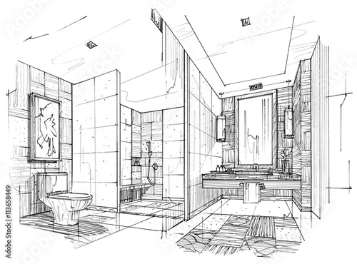 Sketch Stripes Toilet Bathroom Black And White Interior Design