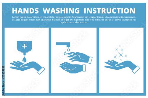 Fotografie, Obraz  Hands washing medical instruction
