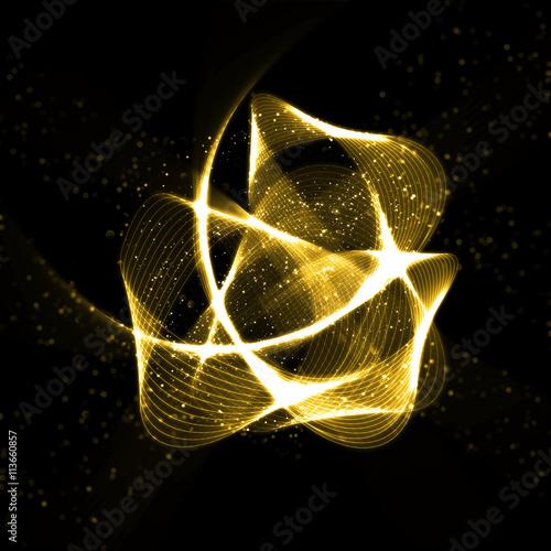 Gold glittering wavy star fractals