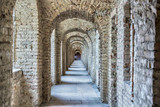 Castle tunnel with a series of arches in the ruined Bastion fortress in the Slovak city of Komarno. - 113661646