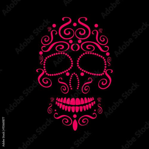 Photo  Skull vector for fashion design, tattoos or patterns pink color