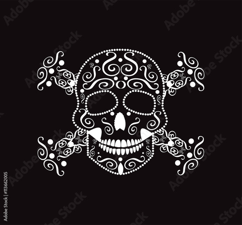 Skull and crossbones neon color Poster