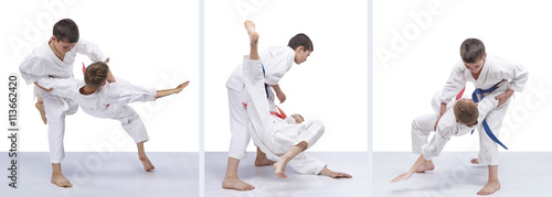 Garden Poster Martial arts On a white background children are training throws collage