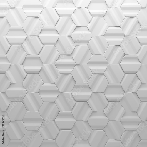 White abstract squares backdrop. 3d rendering geometric polygons