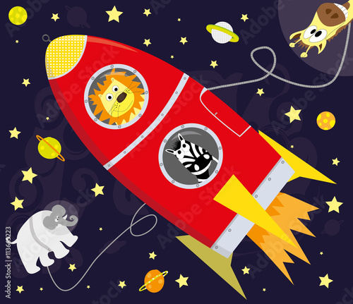 Poster wild cartoon animals and red rocket / space illustration with planets, stars and funny animals