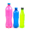 Empty color Plastic bottles, isolated on white