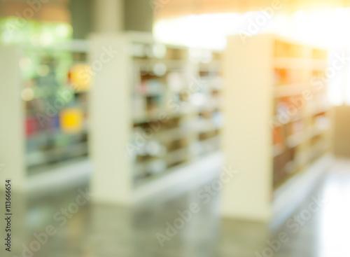 Poster Pharmacie books on bookshelf in library, abstract blur defocused backgroun