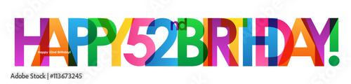 Fotografia  HAPPY 52nd BIRTHDAY Vector Card