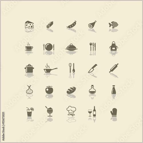 Icons Kochen Küche Wall mural