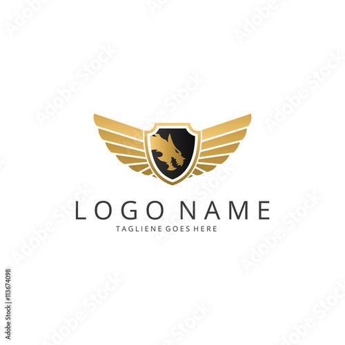 dragon logo template wings logotype shield logo buy this stock