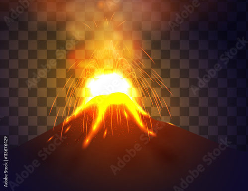 Obraz na plátně  Eruption volcano vector illustation.