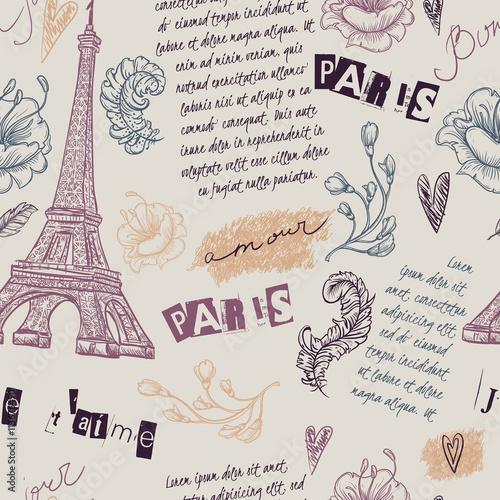 paryz-rocznika-bezszwowy-wzor-z-wieza-eifla-kwiatami-piorkami-i-tekstem-ilustracja-wektorowa-retro-recznie-rysowane