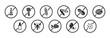 Allergy icon button set