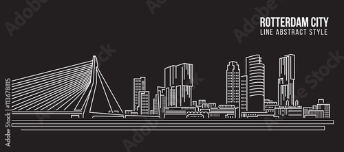 Foto op Plexiglas Rotterdam Cityscape Building Line art Vector Illustration design - Rotterdam City