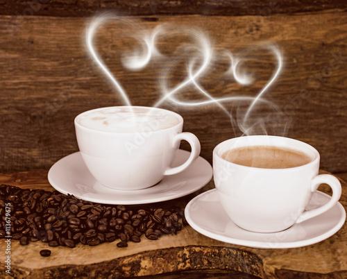 Papiers peints Café en grains Good Morning: Coffee with heart-shaped steam :)