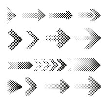 Dotted Halftone Arrows Vector Set