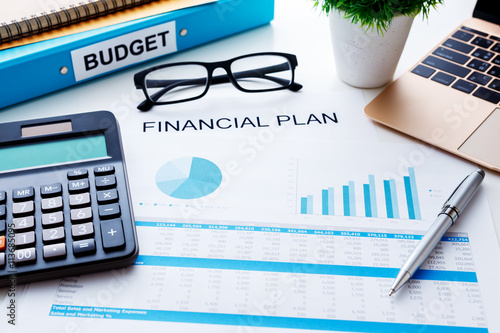 Fototapeta Financial plan concept with financial report obraz