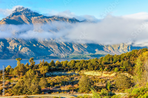 Low clouds in the mountains in Glenorchy, New Zealand Canvas Print