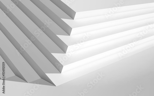 White contemporary interior, 3d illustration