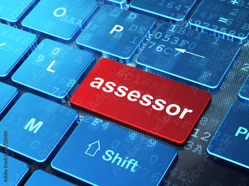 Insurance concept: Assessor on computer keyboard background Canvas Print
