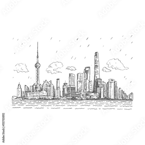 Shanghai skyline, China. Vector freehand pencil sketch. Wallpaper Mural